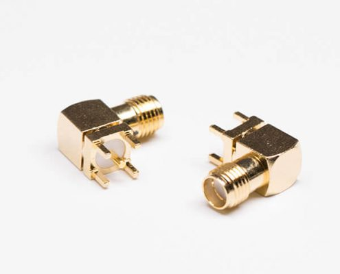 射频SMA接头镀金90度母头接PCB板穿孔式