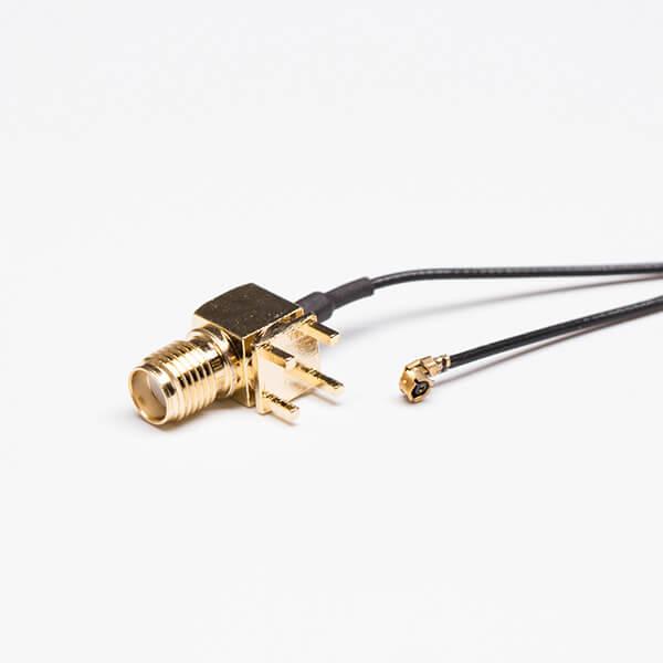 SMA线焊接黑色RF 1.1同轴线接IPEX一代接头(弯头SMA穿孔接PCB)