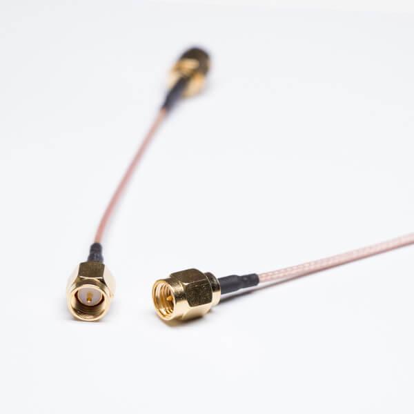 SMA公头射频线材RG178棕色同轴线两头焊直角SMA连接器