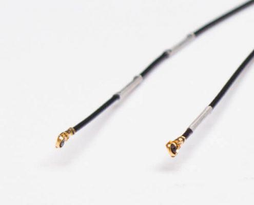 射频同轴电缆线材RF0.81黑色双头接IPEX五代+镀银线扣