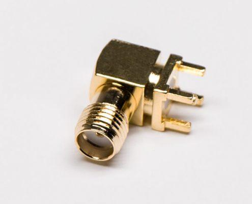 同轴sma接头90度镀金母座弯式插孔接PCB板